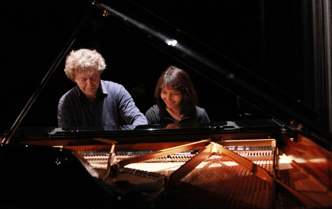 Pascal Roge and Ami Roge rehearse before a performance of composers Debussy, Chaminade and Ravel during the second 'It's All About Piano!' festival at Institut Francais on April 6, 2014 in London, United Kingdom. (Photo by Amy T. Zielinski)