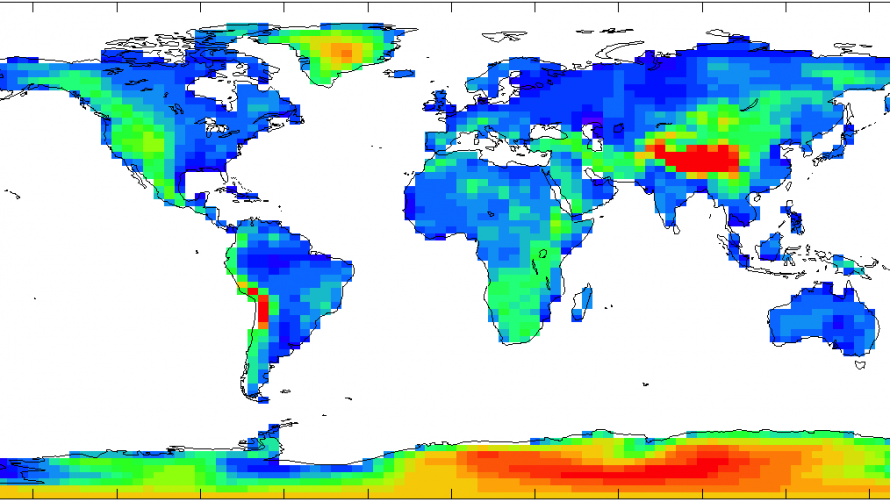 """Height of the land surface in the """"HadCM3"""" version of the UK Met Office climate model"""