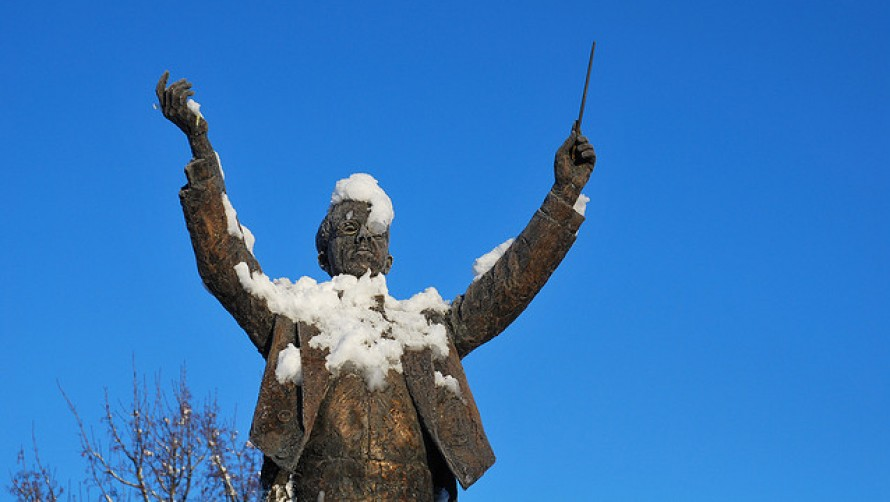 Holst Statue in the Snow