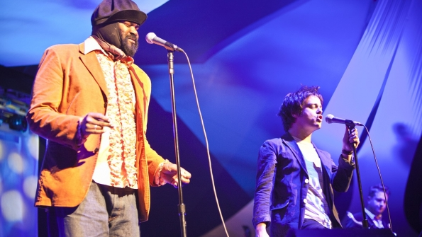 Gregory Porter and Jamie Cullum on stage