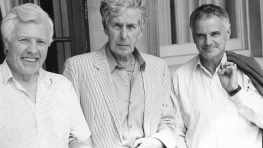 John Manduell, Michael Tippett & Peter Maxwell Davies outside Pittville Pump Room, July 1994 (Image: Martin Davis)