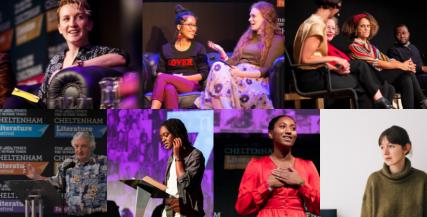 Montage of writers who have taken part in Cheltenham Literature Festival talent development programmes