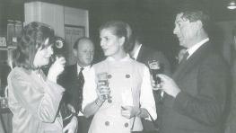 Elizabeth Jane Howard (centre), Artistic Director of the 1962 Cheltenham Literature Festival, speaking to Edna O'Brien and John Moore.jpg